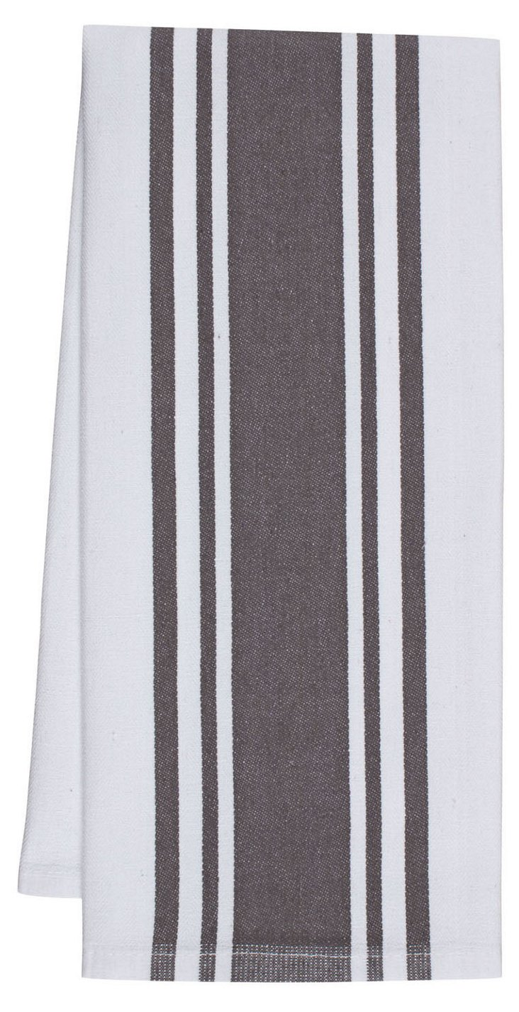 S/4 Center-Band Towels, Pewter