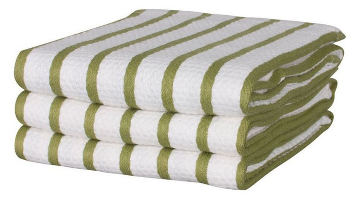 S/6 Whim Casserole Towels, Olive