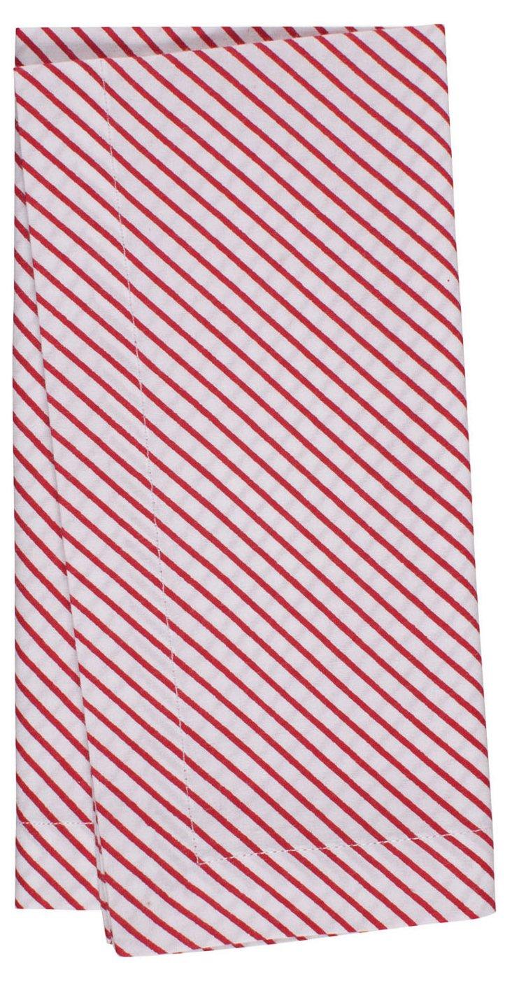 S/4 Striped Napkins, Red