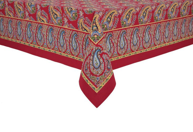 Paisley Tablecloth, Red