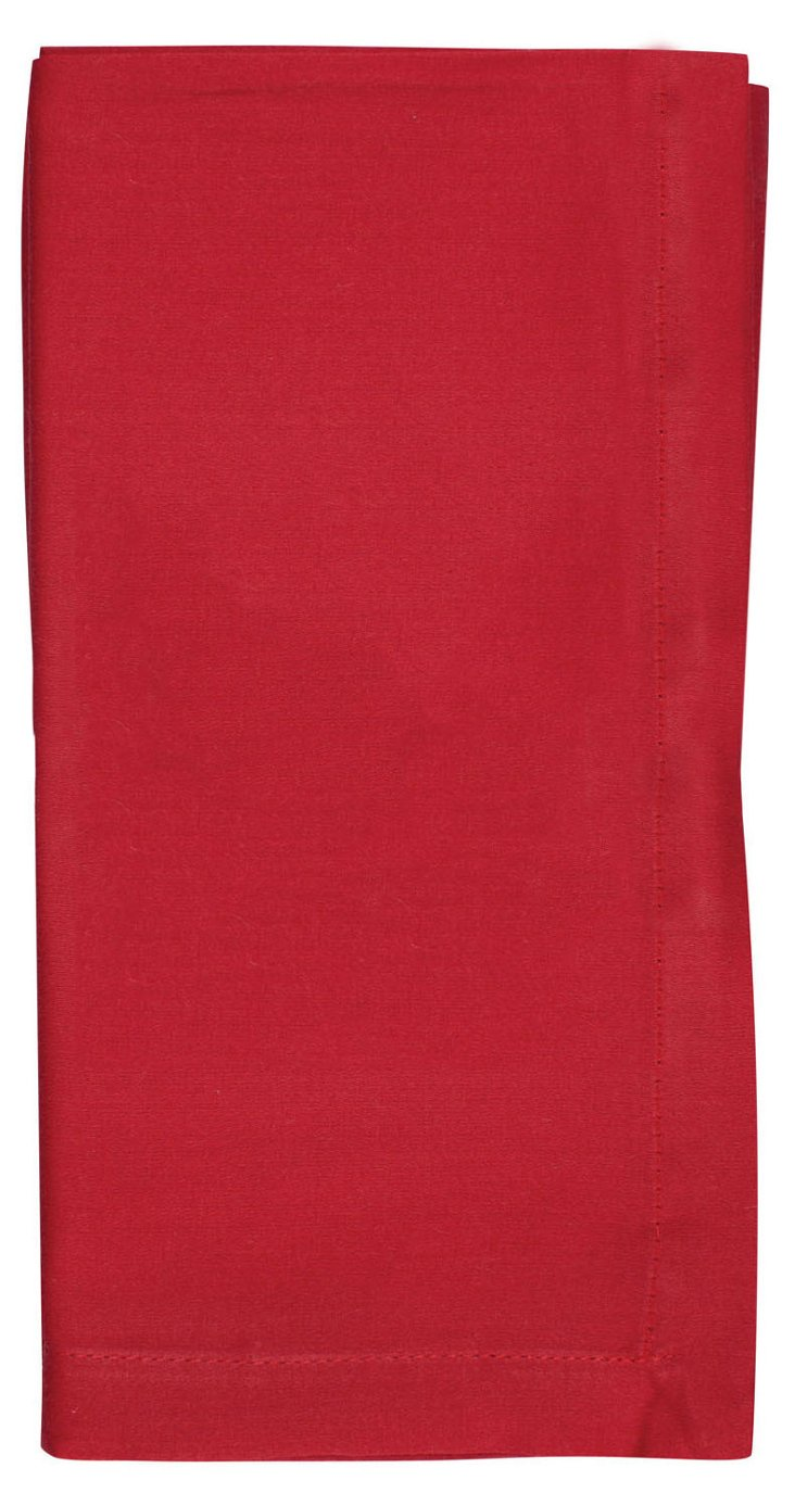 S/4 Fete Solid Napkins, Red