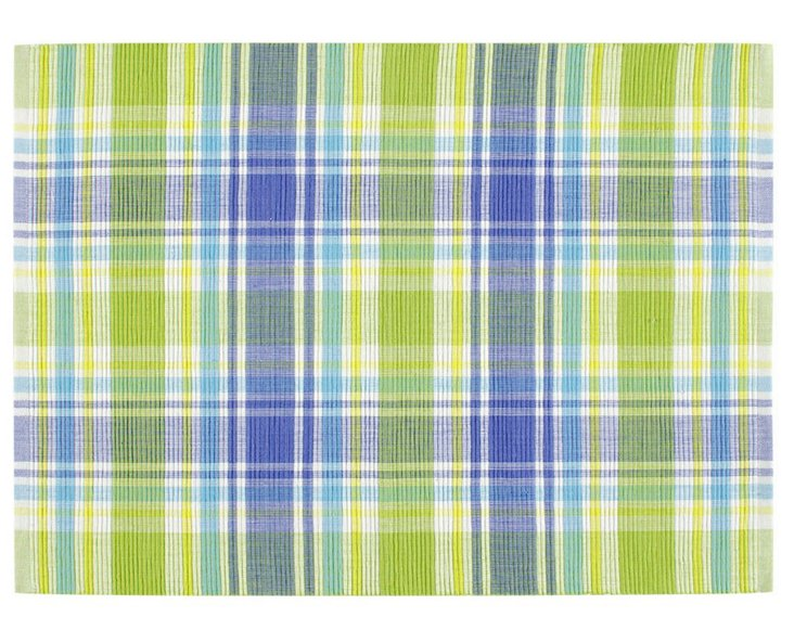 S/4 Plaid Picnic Place Mats, Blue