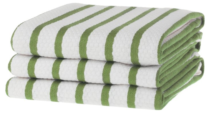 S/6 Whim Casserole Towels, Green