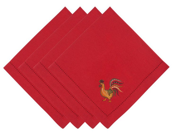 S/4 Le Marche Rooster Napkins, Red