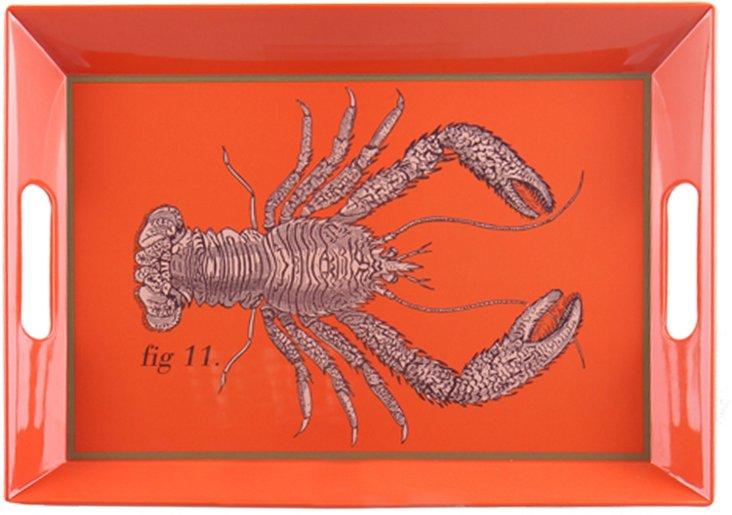 Rectangular Lobster Tray, Red/Gray