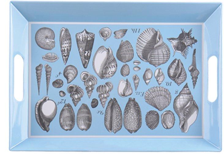 Rectangular Seashell Tray, Blue