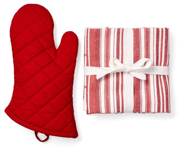 4-Pc Oven Mitt & Tea Towel Set, Red