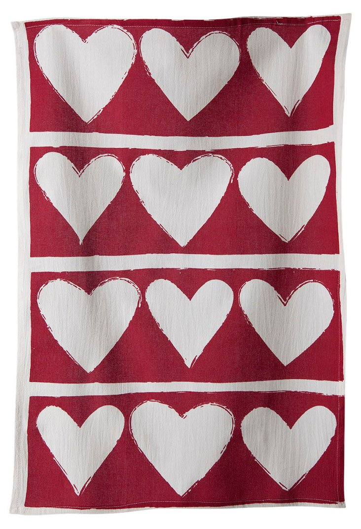 Whim Hearts Flour Sack, Red
