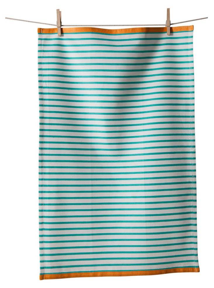 S/3 Striped Towels, Turquoise