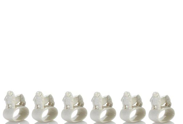 S/6 Porcelain Dog Napkin Rings