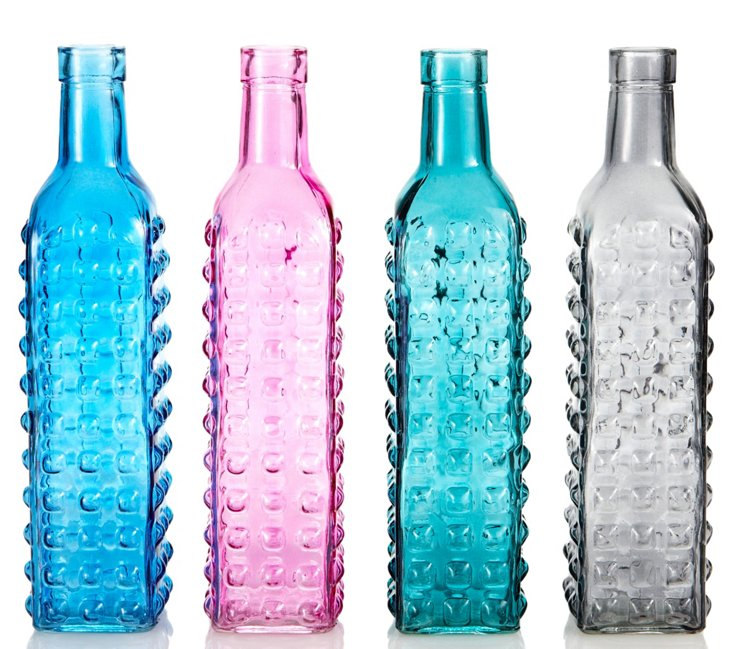S/4 Glass Textured Bottle Bud Vases