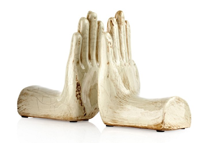 Pair of Taupe Ceramic Hand Bookends