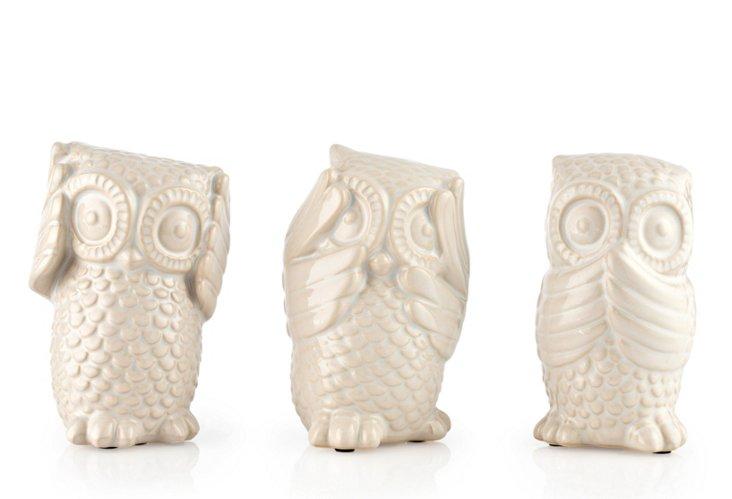 No Evil Ceramic Owls, Asst. of 3