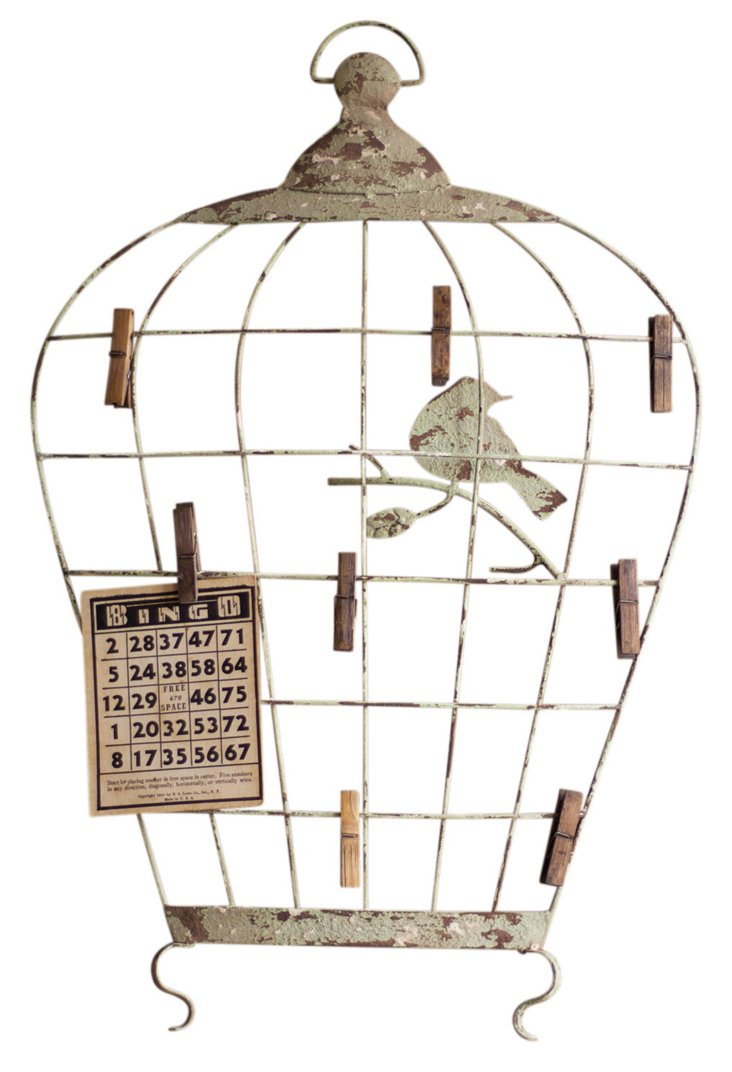Birdcage Wall Hanging w/ Photo Clips