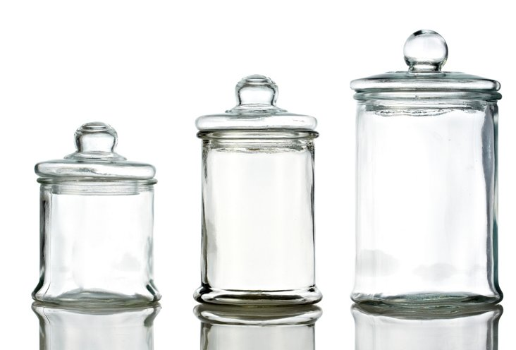 S/3 Round Glass Canisters