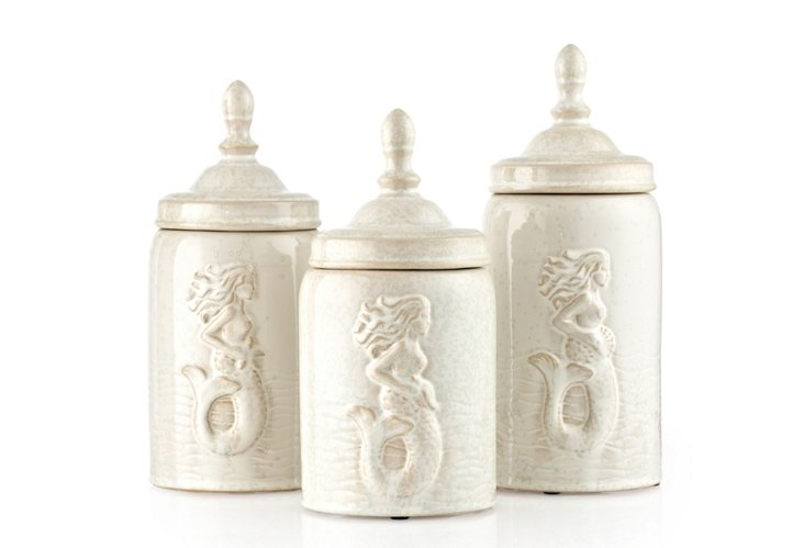 Canisters w/ Mermaid Pattern, Asst. of 3