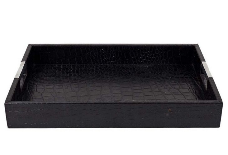 Large Croc Tray with Chrome Handles