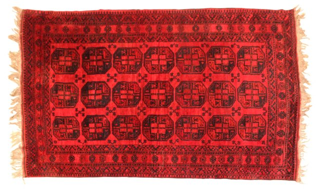 "Semi Antique Afghan Rug, 9'8"" x 7'2"""