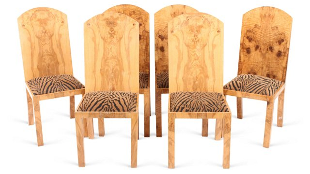Burl Wood Chairs, Set of 6