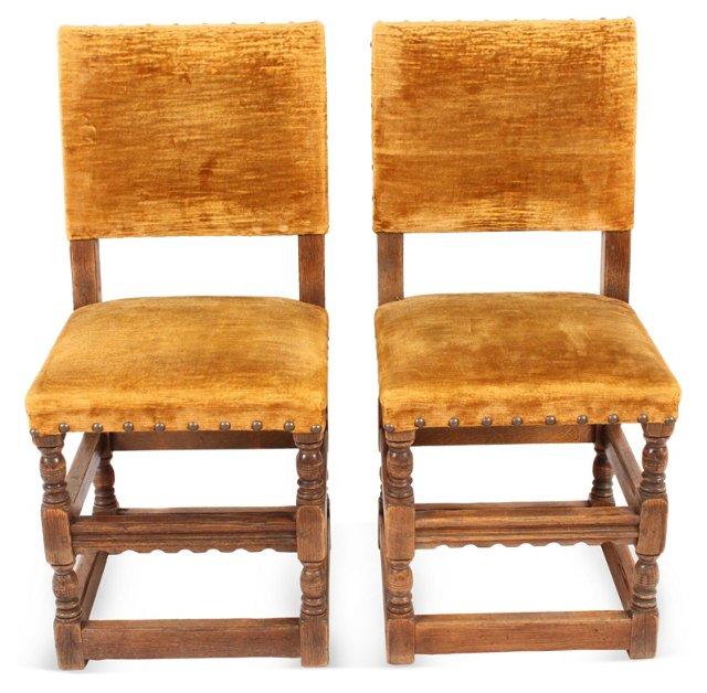Gold Velvet Spanish Side Chairs, Pair