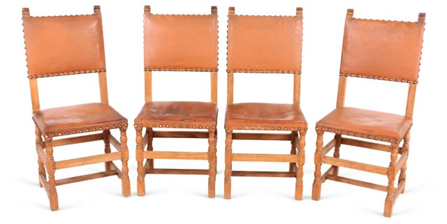 Spanish Leather Chairs, Set of 4