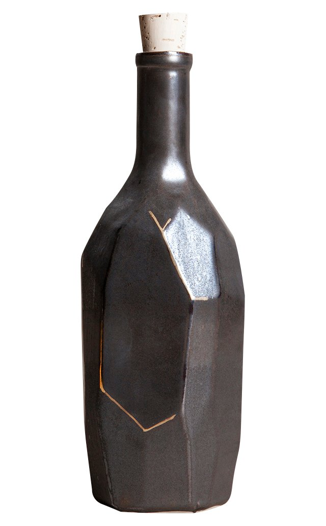 Porcelain Faceted Bottle, Black/Gold