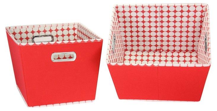 S/2 Medium Storage Bins, Red Polka Dot