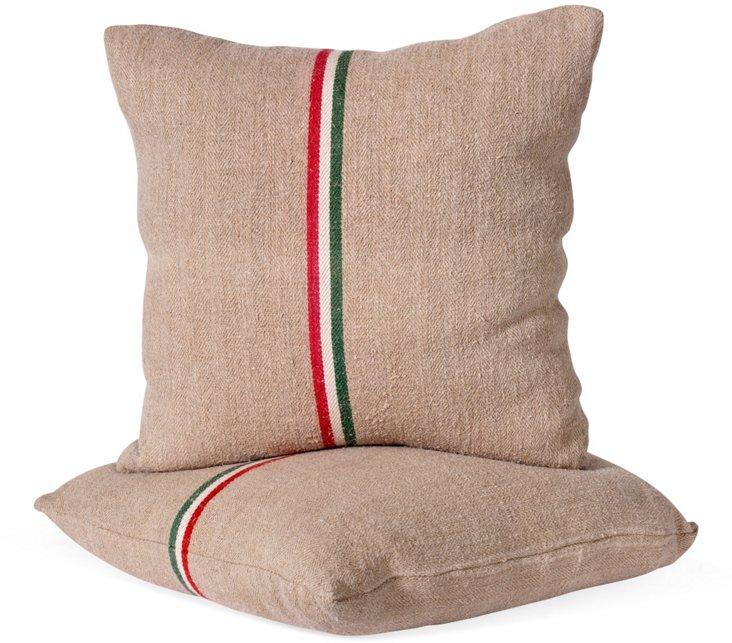 Vintage Grain Sack Pillows, Pair