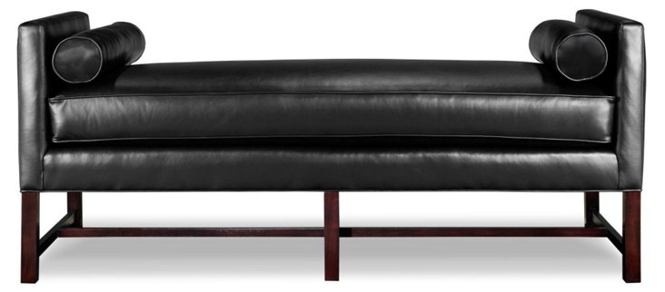"Andrew 71"" Leather Day Chaise, Black"