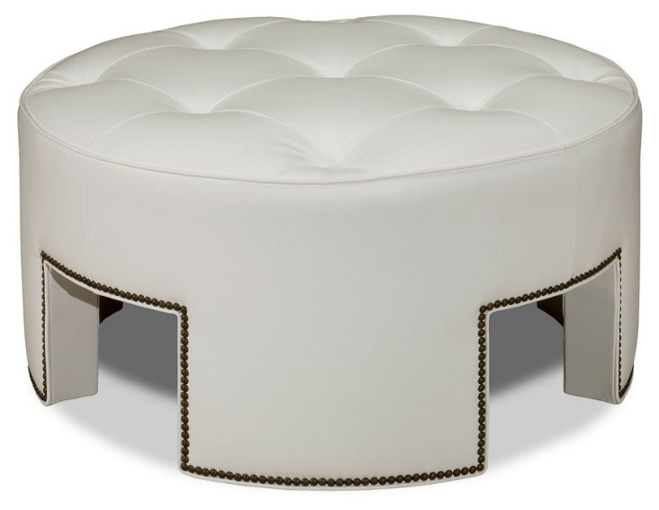 Anthony Cocktail Ottoman, White Leather