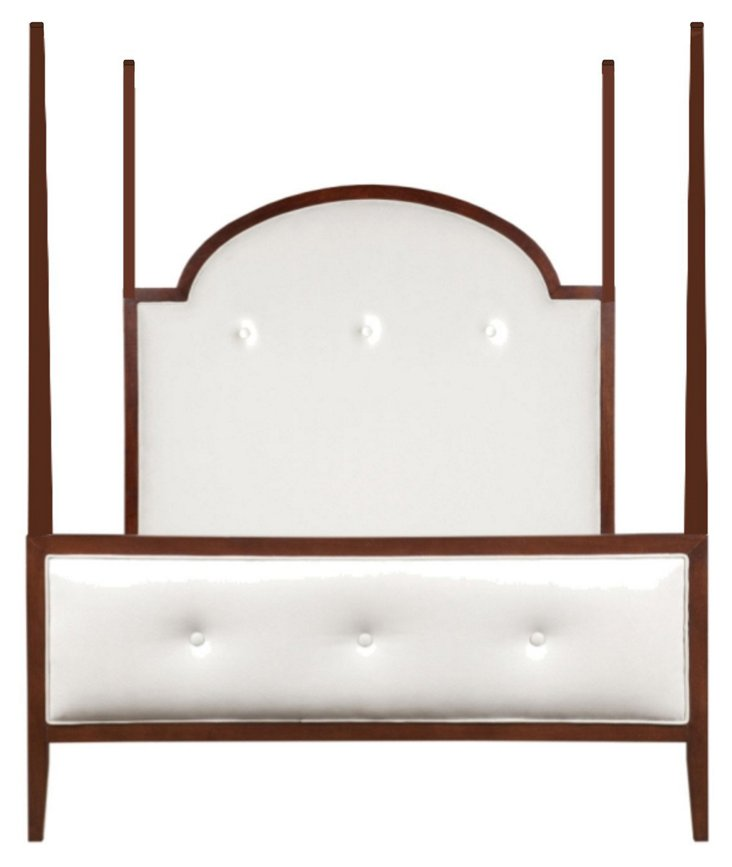 John 4-Poster Bed, White Leather