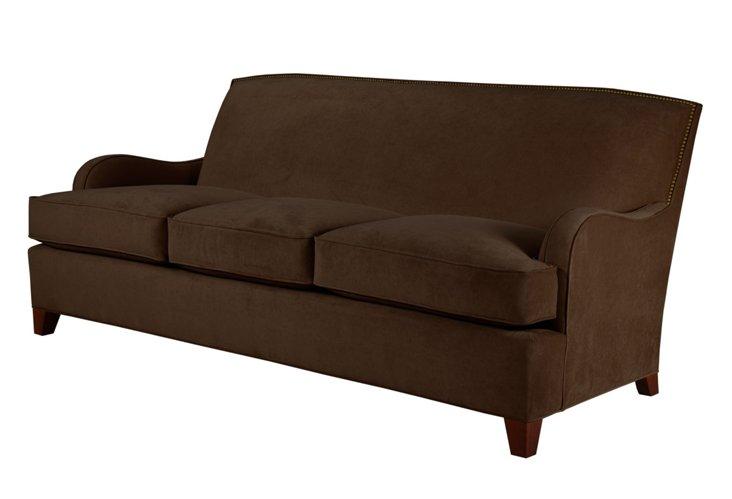 """Sydney 84"""" Velvet Sofa, Chocolate"""