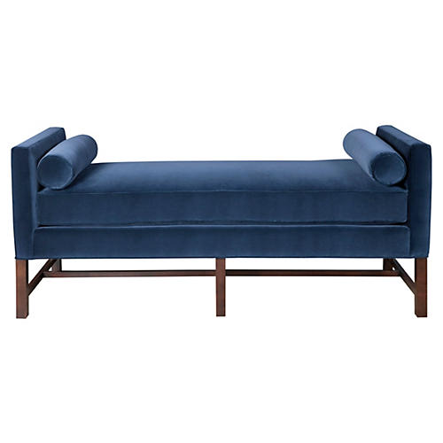 Andrew Day Chaise, Navy Velvet