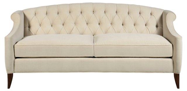 Coco Tufted Sofa, Eggshell Velvet
