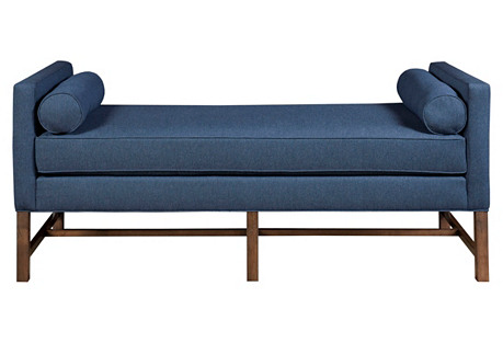 Andrew Day Chaise, Navy Sunbrella Linen
