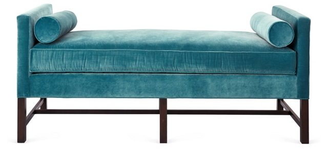"Andrew 71"" Day Chaise, Turquoise"