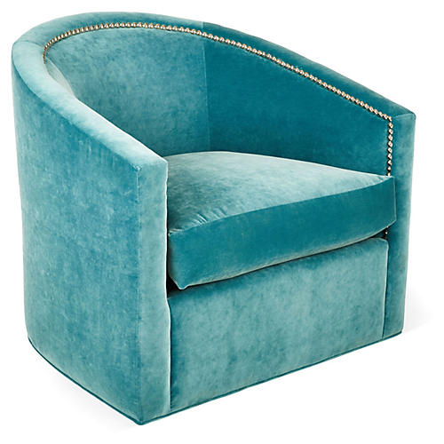 Georgia Swivel Club Chair, Calypso Velvet