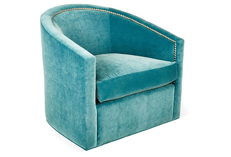 Georgia Swivel Chair, Calypso Velvet