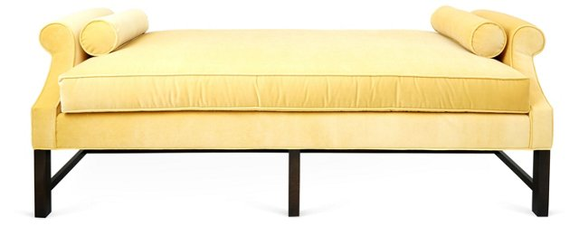"Anne 84"" Velvet Day Chaise, Key Lime"
