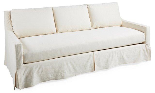 "Daisy 88"" Slipcover Sofa, White"