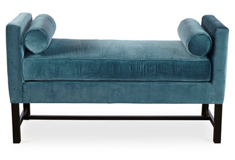 Andrew Velvet Day Chaise, Calypso Blue