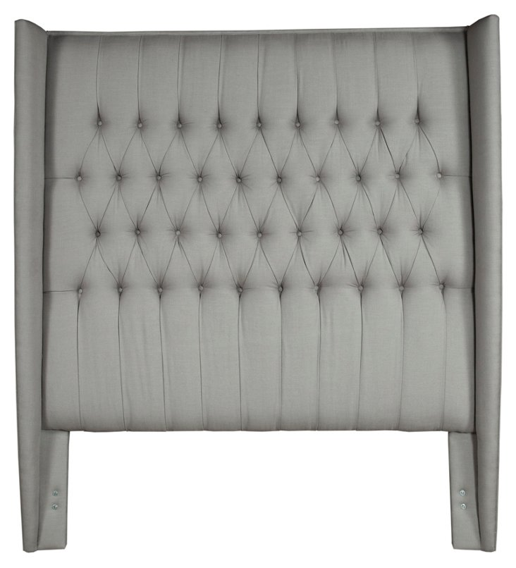 Charlene Tufted Linen Headboard, Gray