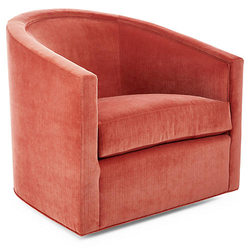 Georgia Swivel Club Chair, Hibiscus Velvet