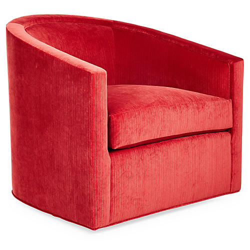 Georgia Swivel Glider Chair, Vermillion Velvet