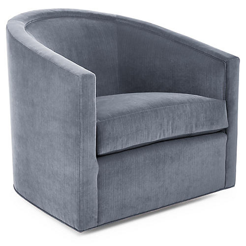 Georgia Swivel Club Chair, Soldier Blue Velvet