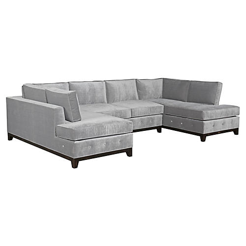 "Reagan 76"" Sectional, Gray Velvet"