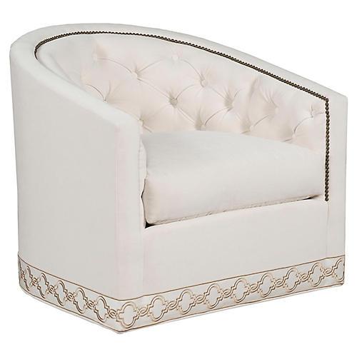 Georgia Swivel Club Chair, Eggshell Velvet