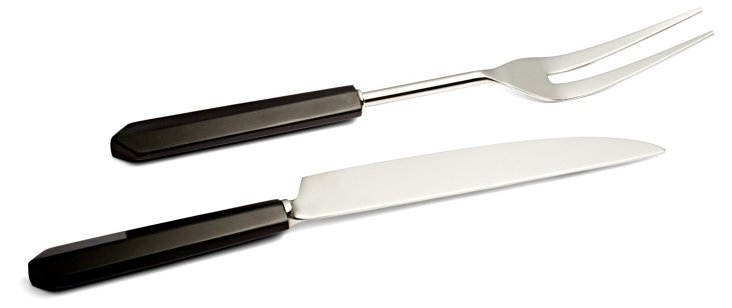 Faceted Point Carving Set, Black