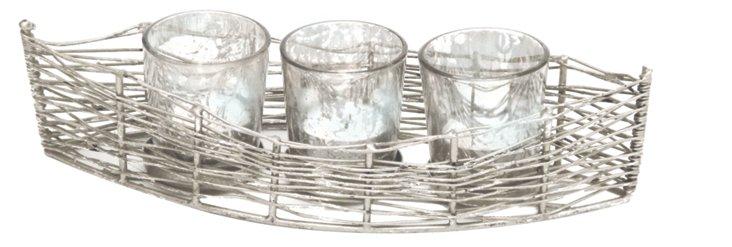Boat Votive Holder w/ 3 Mercury Glasses