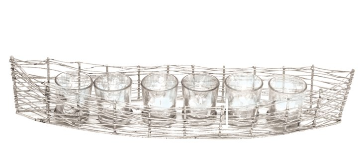 Boat Votive Holder w/ 6 Mercury Glasses